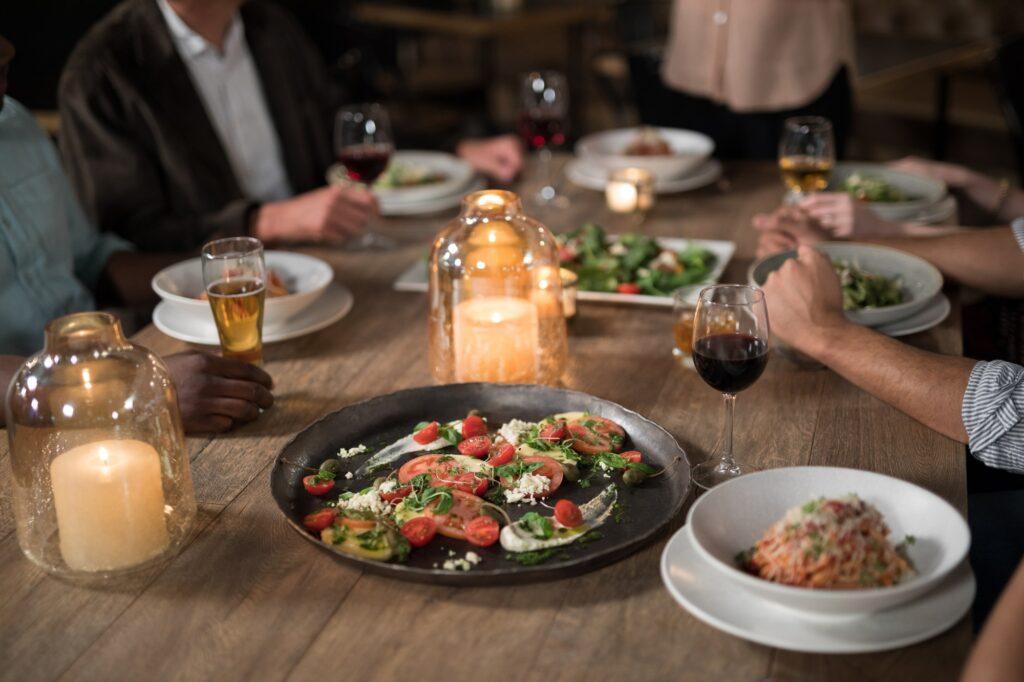 Friends dining in restaurant